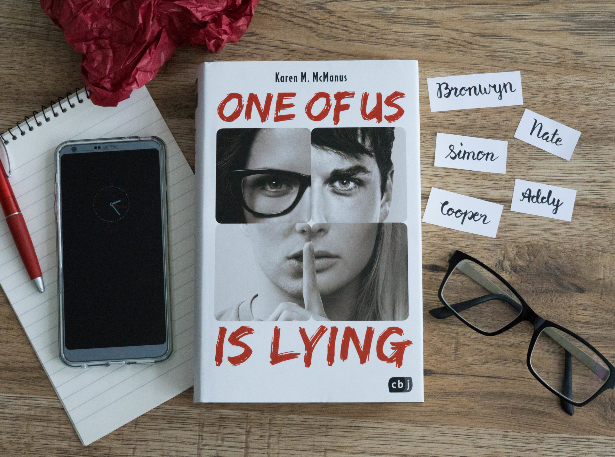 One of us is lying – Karen M. McManus graphic